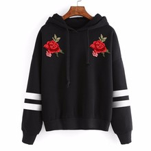 2017 Elegant Nobility Women Red Rose Embroidery Applique Long Sleeve Black Hoodies SweatshirtPullover Tracksuit #GH30