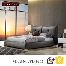 Indian Simple double bed design in woods exotic bed with metal legs,modern bed