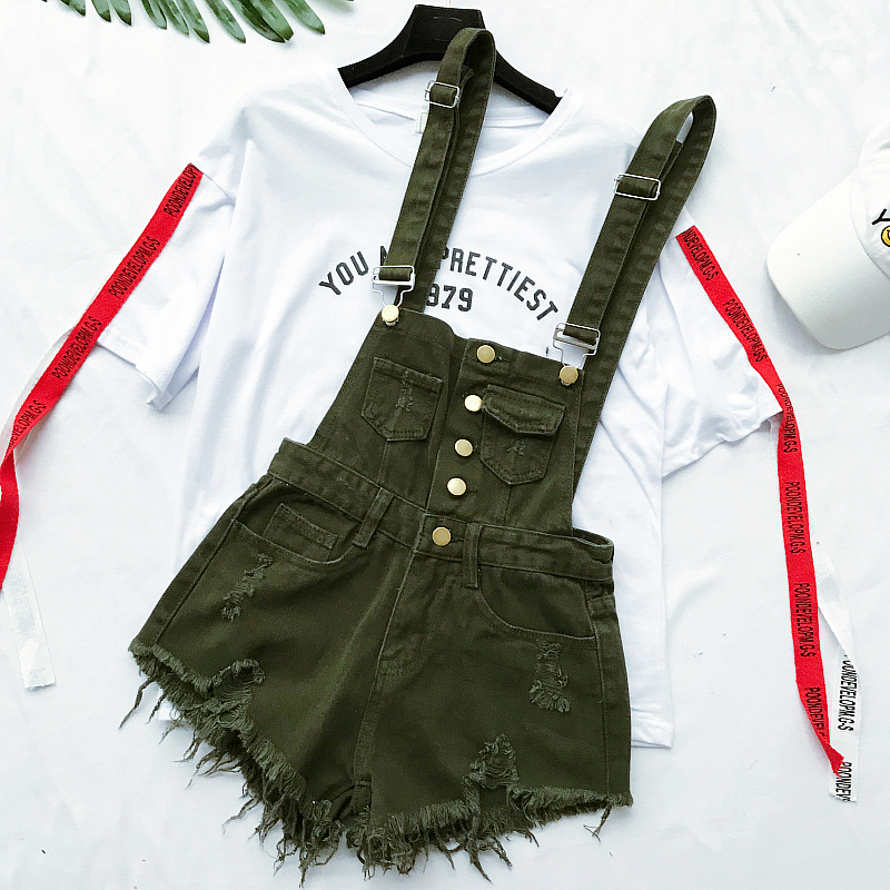 New Collection Summer Korean Loose Women Denim Jumpsuit High-waisted Ripped Hole Wavy Edge Jumpsuit Fashionable Suspenders Pants4