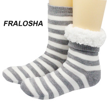 Buy FRALOSHA Long floor Socks Home Slipper Women's Winter Warm Fuzzy Anti-Skid Lined Indoor Floor Slipper Socks Knitted socks for $12.74 in AliExpress store