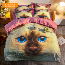 CLOVER LANGUAGE Children Bedding Set Kids Home Textiles 3D Cat Student Bedclothes Bedding Set 3d King Size 3pcs/4pcs(China)