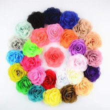 28pcs/lot U Pick Color Handmade 3.15'' Chiffon Silk Rosette Flowers girls Hair Accessories FH28(China)