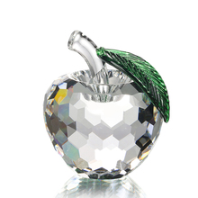 Clear Apple Faceted Single Crystal Paperweight Happy Art&Collectible Souvenir Novelty Gifts Crafts Home Decoration(China)