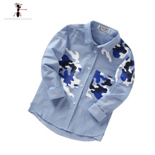 Camouflage 2016 Long Sleeve Paisley Ant Casual Turn-down Collar Blue Yellow Boys Shirts Kids Blouses Blusa Infantil5040