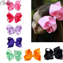 "32PCS/LOT 6"" Big Hair Bow Girls Solid Ribbon Hair Bows With Clip Boutique Hair Clip Hairpin Hair Accessories Kids Hairpin"
