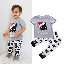 Cute Red Hat Batman Clothes Suit Baby Boy Outfits Cotton T-shirt+Pants 2pcs Christmas Set