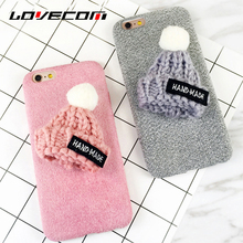 LOVECOM Winter Hot Fuzzy & Hand-Made knitted Hat Parttern For Iphone7 7 Plus 6 6S Plus Soft Anti Shock Mobile Phone Cases Shell
