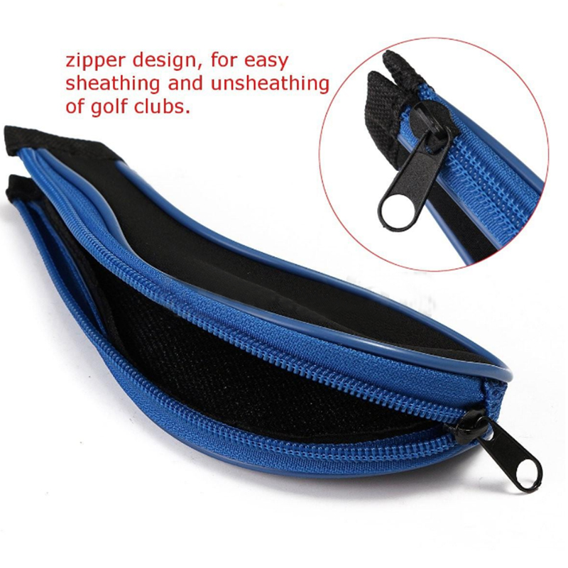 High Quality 12Pcs Rubber Neoprene Golf Head Cover Golf Club Iron Putter Protect Set Number Printed with Zipper Long Neck
