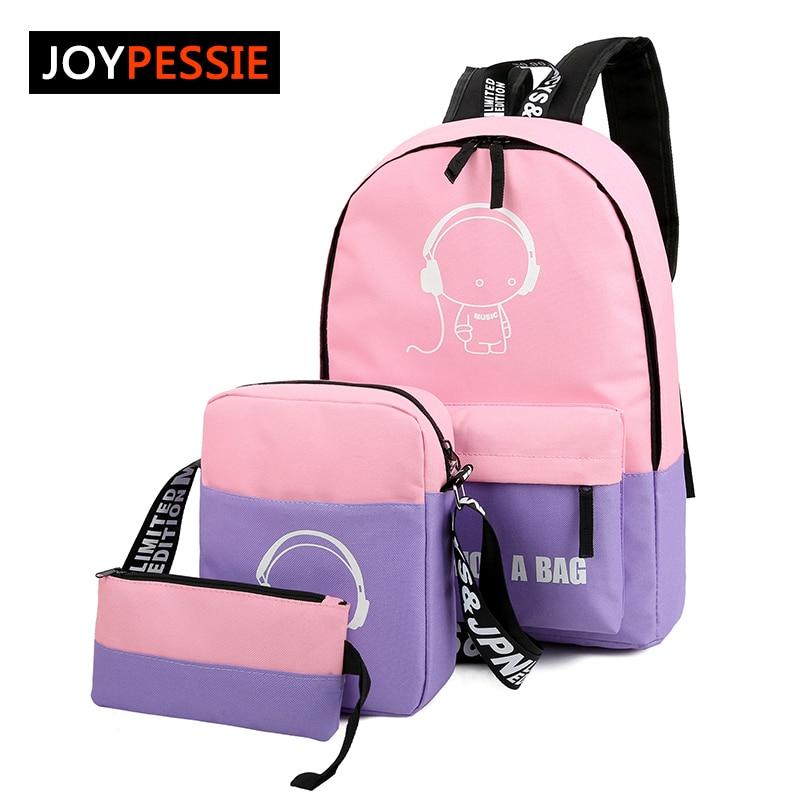 JOYPESSIE Sets girl Luminous women Backpacks Nylon School Bags fluorescence Backpack For Teenager Book bag mochila light bag<br><br>Aliexpress