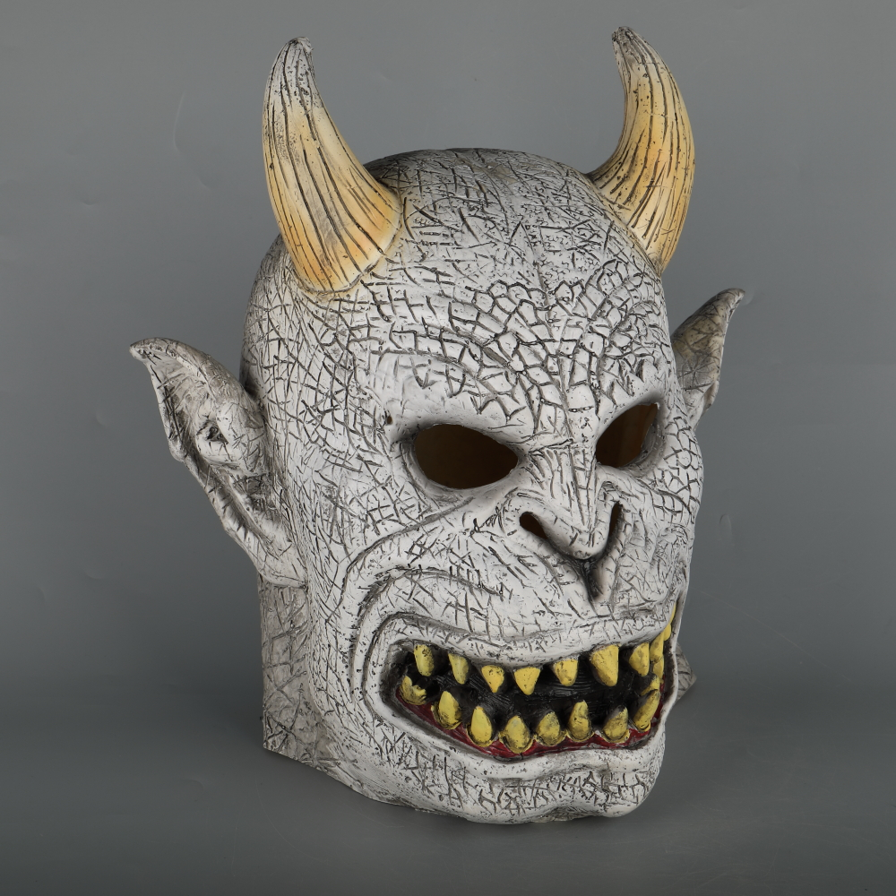 Scary Demon Devil Horror Halloween Latex Mask With Horn Cosplay Prop Masquerade Mask Adult (14)