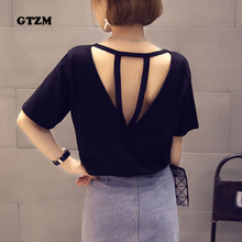 Buy GTZM 2018 New Fashion Behind Hollow Tshirt Women Clothes Sexy Summer Bandage Loose Thin Women T-shirt Solid Female Tee Tops for $5.19 in AliExpress store