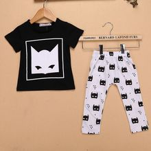 New Hot 6-24M Toddler Clothes Set Kids Boys Girls Clothes Summer Short Sleeve Cartoon Printed T Shirt Tops+Pants Infant Set