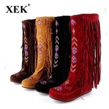 XEK China nación estilo Flock cuero hombres franja tacones botas largas  hombre borla rodilla botas altas 279b9b8e21568