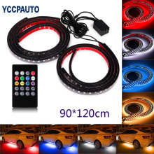 Car RGB LED Strip Light Atmosphere Foot car-styling Bumper Rear Bottom Neon Light W/ Remote Controller Flexible Lamp 1set(China)