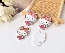 Kawaii cartoon Figurine Hello Kitty KT cat Home decoration flat back planar resin craft DIY hair Bow accessories brooch(China)