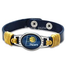 6pcs/lot! Indiana Basketball Genuine Leather Adjustable Bracelet Wristband Cuff 12mm Navy Blue Leather Snap Button Charm Jewelry