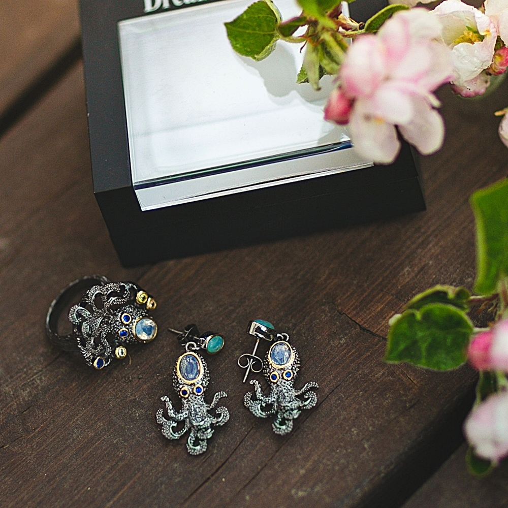 WE3875 octopus earrings women vintage gothic jewelry (1)
