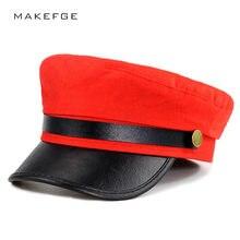 Mulheres unissex cinza borda Vermelha e preta Militar Chapéus Jornaleiro  Tampas de Lã de Retalhos de Couro Pu Com Cinto de Outon. dcc105e1f2e