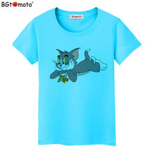 BGtomato Factory store original brand good quality clothes cat printing cool T-shirts wholesale price tops drop shipping 43543
