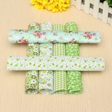 Novelty 6Pcs Green Series Flower Floral Pre Cut Quilting Cotton Fabric Patchwork Household Needlework Sewing Material 25cm*25cm