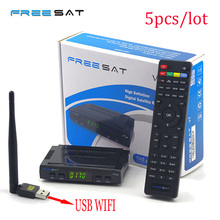 Freesat V7 HD Support Cccam Newcam Satellite Reciever add 1 Pc USB Wifi DVB-S2 Support PowerVu Biss Key V7 HD Satellite Receiver(China)