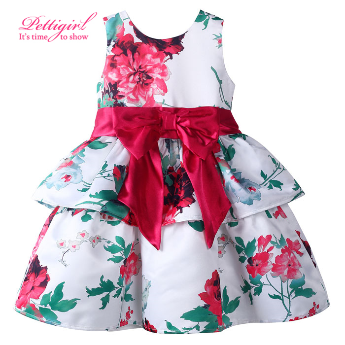 No size 2T just have size 3-4 5-6 7-8)2017 Hot A-line Flower Print Girl Cake Summer Dress Fashion Girl Clothes With Bow Sash<br><br>Aliexpress