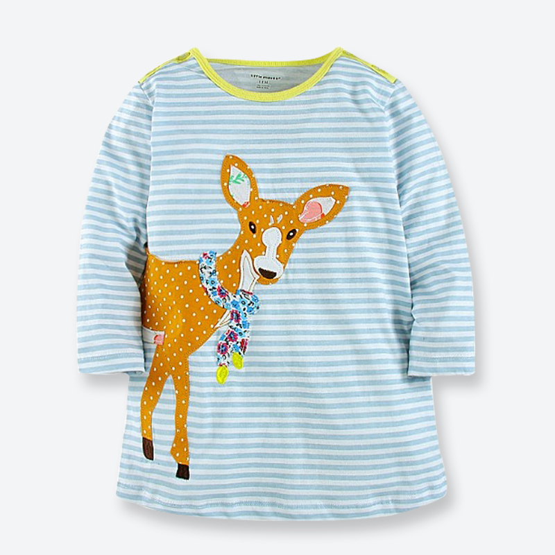 Spring Autumn Girls Dress with Long Sleeves Cartoon Patch Baby Girls Dress Casual Kids Clothes Soft Childrens Clothing 1-6 Yrs<br><br>Aliexpress