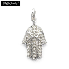 Hand Of Fatima Charm,Europe Style Muffiy Club Good Jewelry For Women,2017 2018 Lucky Gift In Silver Fit Bracelet(China)