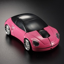 Car Shaped Wireless Optical Mouse 10m 1600DPI 3D Gaming Mice LED Lights Mouse + 2.4G USB Receiver For Laptop Computer Pink