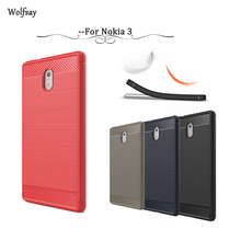 Wolfsay Case For Nokia 3 Cover Soft TPU Brush Rugged Armor Back Case For Nokia 3 Cover For Nokia 3 TA-1020 TA-1032 Fundas