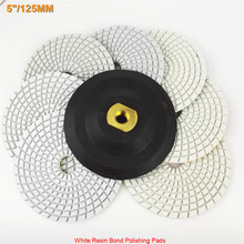 "DIATOOL 7 pks 5"" White Resin Bond Polishing Pads for Marble & Granite plus a Rubber Backer Wet Diamond Sanding Disc(China)"