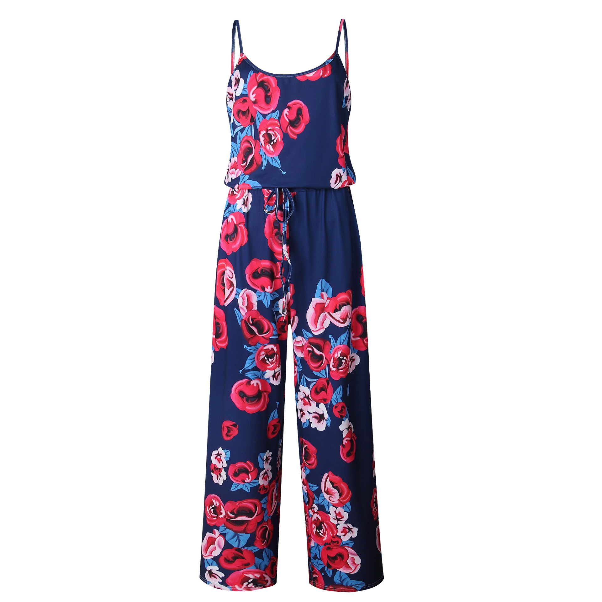Spaghetti Strap Jumpsuit Women 2018 Summer Long Pants Floral Print Rompers Beach Casual Jumpsuits Sleeveless Sashes Playsuits 49
