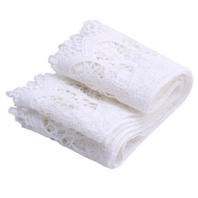 New 2 Yards White Lace Trim Flower Polyester Fringe Applique Sewing DIY Craft W210(China)