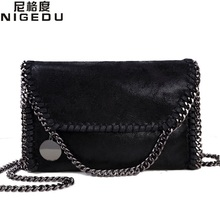 NIGEDU Fashion Womens design Chain Detail Cross Body Bag Ladies Shoulder bag clutch bag bolsa franja luxury evening bags(China)