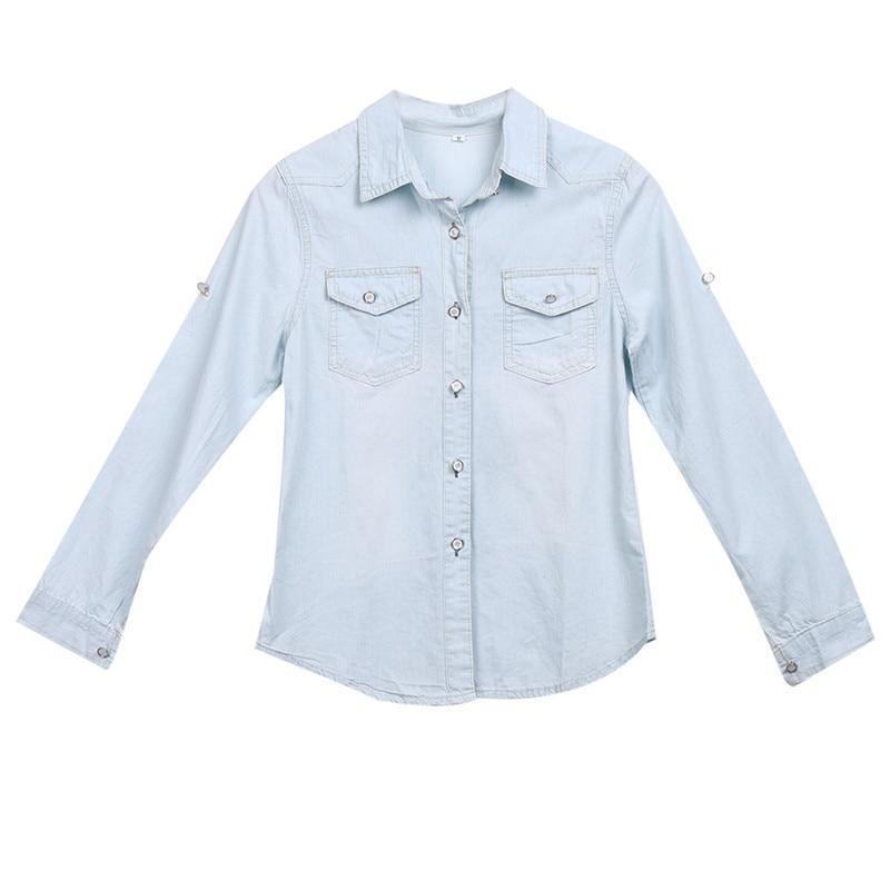 Women ladies casual autumn Long Sleeve Denim shirts fashion turn-down collar button solid asymmetric shirt blouses tops