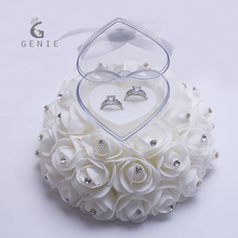 Genie Cake Shape Rose Flowers Ring Box Romantic Wedding Jewelry Case Ring Bearer Wedding Pillow Cushion Decor Ring boxes 2017