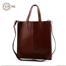 EACME Casual Shoulder Tote Bag Men Handbag Quality PU Leather Women Totes Shopping Hand Bags Black Brown Durable Crossbody Bag