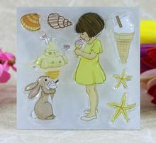 Scrapbook DIY Photo Album Card Rubber Chapter Transparent Seal  ice cream& Girl Stamp126
