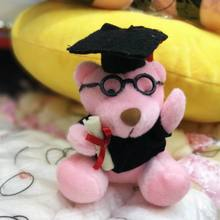 10cm Graduation Teddy Bear With Cap/Gown/Glass Plush Doll Cartoon Stuffed Toy For Doctor/Students Gifts #Pink(China)