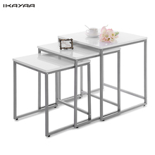 iKayaa US UK FR Stock 3PCS Metal Frame Nesting Tables Set Living Room Couch Sofa Coffee Table Ottoman Bedroom Home Furniture