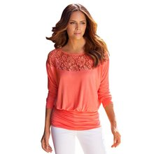 Women's Loose Long Sleeve Casual Lace Hollow Out Embroidery O-neck T-Shirt Tops Solid Chill Trend Modern Vocation Wears
