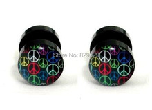 Color peace logos acrylic cheater fake ear plugs earring stud illusion fake plugs size 10mm*1.2mm FEP026
