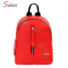 Saiten High Quality PU Leather Women Backpack Crocodile Pattern Solid School Backpack Female Preppy Style Women Small School Bag(China)
