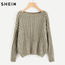 SHEIN Pearl Embellished Mixed Knit Jumper Loose Casual Fall Women's Sweaters Grey Long Sleeve Pullovers Sweaters(China)