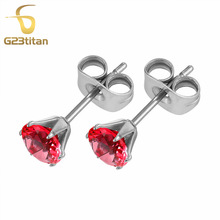 Romantic Circonia Earring 5mm Pink Cubic Zirconia Earrings for Women Anti-allergic G23 Titanium Jewelry(China)