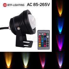10W RGB 85-265V Black  LED Underwater Floodlight Spot Swimming Pool Lake Park lawn Light Waterproof Light with Convex Glass