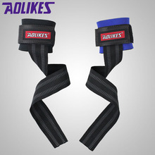 AOLIKES 1 Pair No-Slip Thicken Gym Training Weight Lifting Gloves Bar Grip Barbell Straps Wraps Hand with Wrist Support