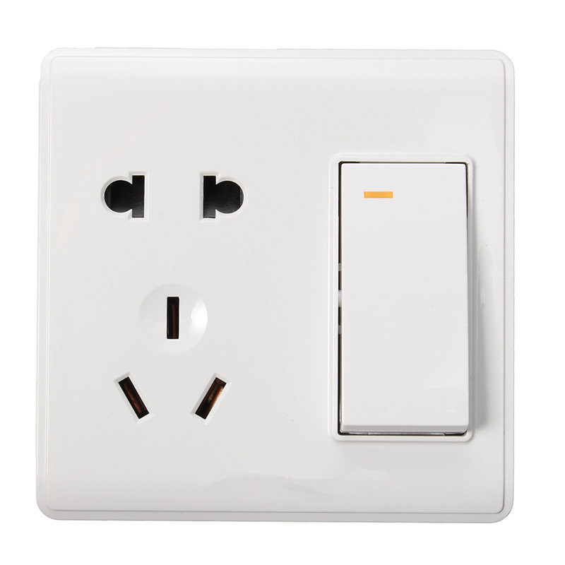 86 Installed Wall Switch, 1 Gang 2 Ways Switch Socket Outlet, Five-Hole White Touch Switch, 10A/250V High Quality(China (Mainland))