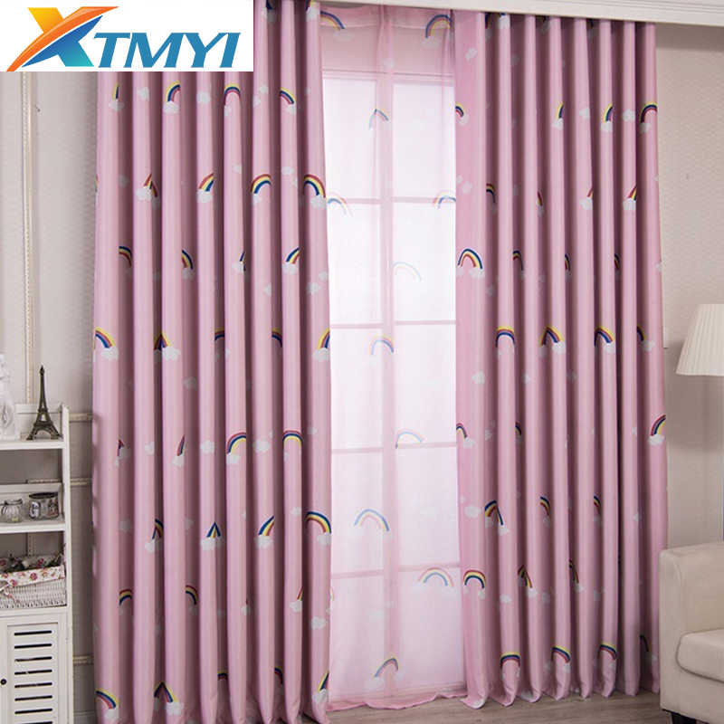 Pink Printed Kids Curtains For Boy Bedroom Children Room Window Sheer Custom Made Curtains