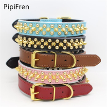 PipiFren Pure Cowhide Small Dogs Collars Pitbull Spiked Rivet For Pets Collar Necklace Accessories Puppy Cat Supplies honden(China)